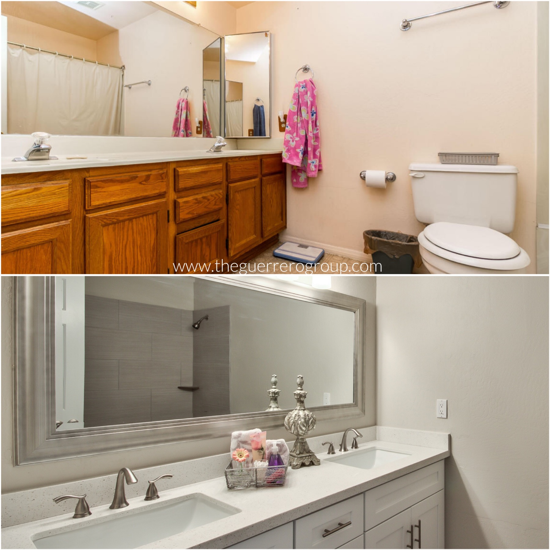 The Guerrero Group - Bathroom Renovation Design Before and After at Chandler Home for Sale in Tierra Dobson 101 Freeway & Warner